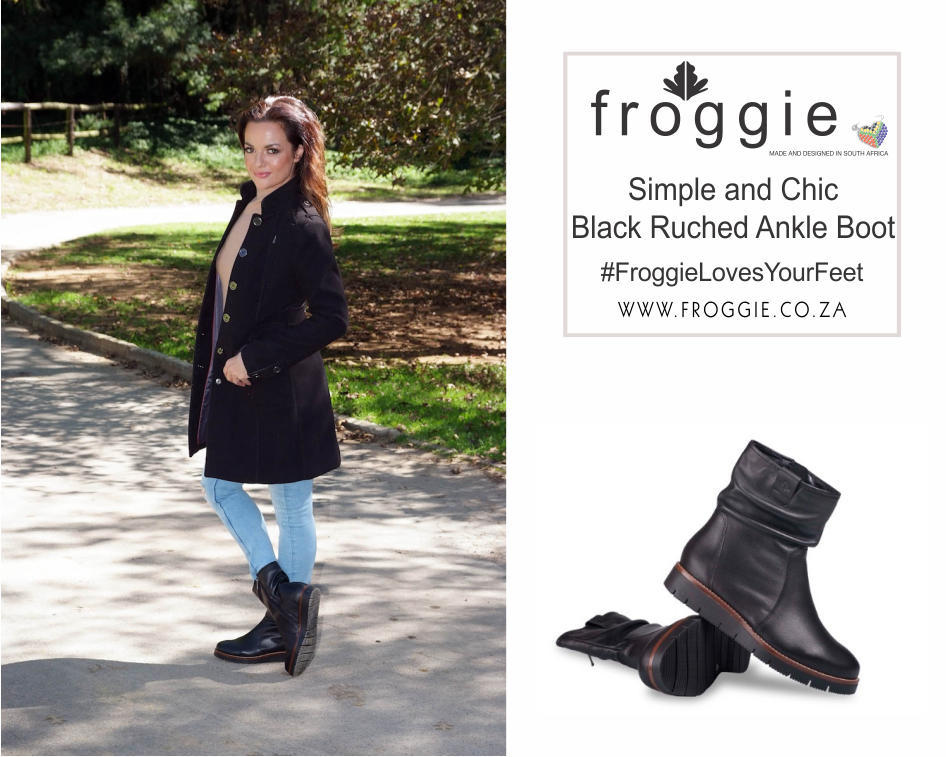 Chic, Black Ankle Boots with Ruche Detail from Froggie
