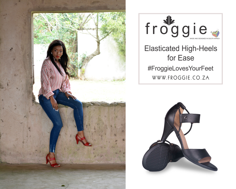 Woman Wearing Red Elasticated High Heels from Froggie