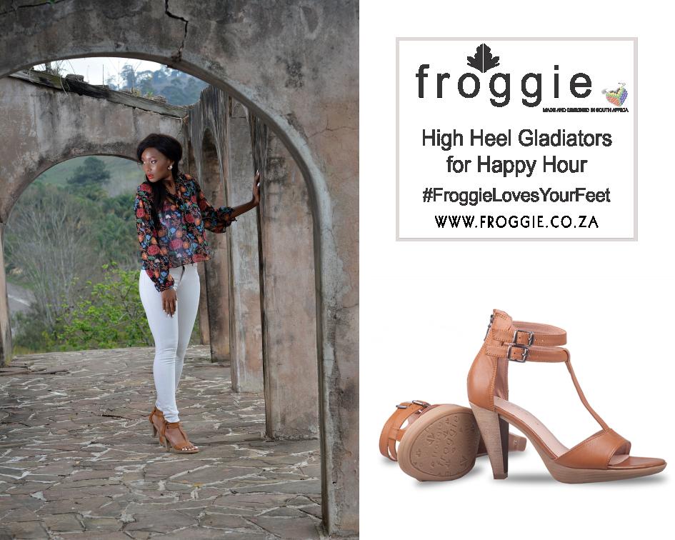 Woman Wearing Tan Gladiator Heels
